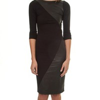 Alice and Olivia Nola Leather Panel Dress