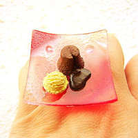 Kawaii Cake Ring Miniature Food Jewelry by SouZouCreations