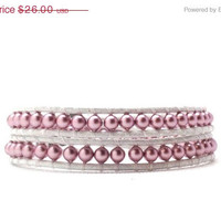 Mothers Day Sale Pink Wrap Bracelet, Swarovski Pearls, White Leather, Elephant Button