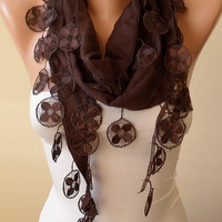 Mother's Day - Brown Pashmina Scarf with Trim Edge