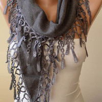 New - Gray - Mother's Day Gift Scarf - Pashmina Scarf in Gray with Trim Edge