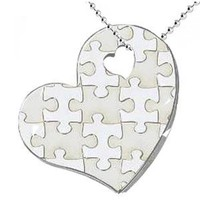 "Puzzle-Design Hearth Shape Stainless Steel Pendant (18"" Stainless Steel Ball Chain is Included)"