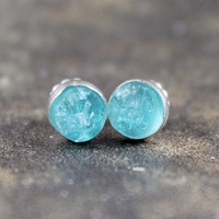 Apatite Earrings - Sterling Silver Stud Style Earrings  - Rough Top Apatite - Handmade and Designed by A Second Time