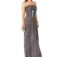 Black White Strapless Tribal Maxi Dress