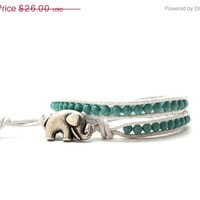 Mothers Day Sale Turquoise Wrap Bracelet, Double, Swarovski Pearls, White Leather, Elephant Button