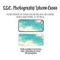 DISCONTINUING 5/6/13 Iphone 5 case. 4s case. 4 case. Birds. Blue sky. clouds. birds flying. blue iphone case.