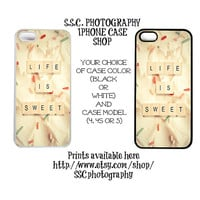 DISCONTINUING 5/6/13 Iphone 5 case. iphone 4 case. 4s case. Life is Sweet. Cute.  cupcake. vanilla frosting. quote. pink. girly.