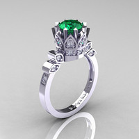 Classic Armenian 14K White Gold 1.0 Emerald Diamond Bridal Solitaire Ring R405-14KWGDEM