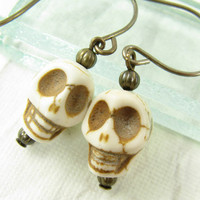 Skull earrings on short brass ear wires Ivory by CobwebCorner