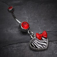 Cute Zebra Heart Red Bow Charm Belly Ring