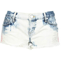 Light acid wash frayed denim shorts - denim shorts - shorts - women