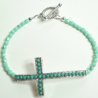 FREE SHIPPING ENTIRE Shop Sideways Cross Turquoise Blue Crystal Bracelet