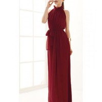 * Free Shipping * Wine Red Stand Collar Chiffon Dress A0927wr