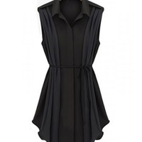 FREE SHIPPNG Black Women Pleated Chiffon Dress A0816b
