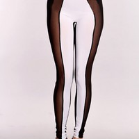 White Black Mesh Stretchy Fit Leggings