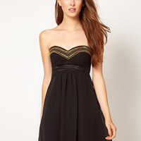 Elise Ryan Gold Trim Babydoll Dress at asos.com