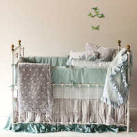 Bella Notte Crib Set 3-piece Silk Velvet Embroidered and Whisper Linen