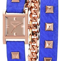 Vince Camuto Double Wrap Chain & Leather Strap Watch, 21mm | Nordstrom