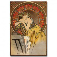 "Trademark Global Mucha by Alphonse Mucha, Traditional Canvas Art - 18"" x 24"" - V6062-C1824GG - Canvas Art - Wall Art & Coverings - Decor"