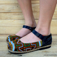 Ethnic Hmong Caramel and Green Embroidered Mary Jane Espadrille Vegan Womens Shoe
