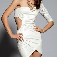 Sexy White One Shoulder Surplice Dress at Online Apparel Store Gofavor