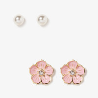 Rhinestone Flower Stud Set