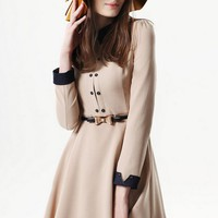 High Quality Peter Pan Collar Long Sleeve Dress - OASAP.com