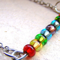 Rainbow beaded bar necklace in sterling silver with pressed glass silver lined beads by ElephantBeads