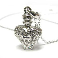 Crystal & silver perfume bottle necklace w lobster clasp free ship within USA