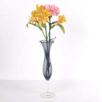 Lovely Purple Blue Etched Glass Vase with Ruffled Edge by BlackMagicEmporium