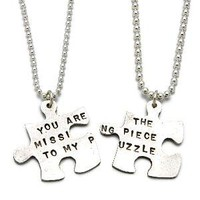 MISSING PIECE PUZZLE NECKLACE | Unique, Symbolic, Matching Silver Puzzle Necklaces for You and the One Who Completes You, Handmade by Kathy Bransfield | UncommonGoods
