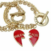 Wildfox Couture Jewelry Bracelet Set with Red Enamel Heart Charm in Gold