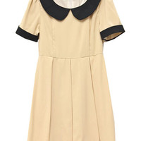 Retro Collar Short Sleeve Apricot Dress(Coming Soon) [NCSKI0151] - &amp;#36;35.99 :