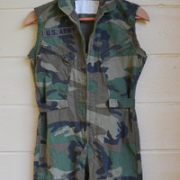 Vintage Camo Jumpsuit Army Jumpsuit Camo Jumper Cutoff Sleeves Grunge Punk Military Jumper