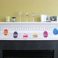 Crochet Easter Egg Garland Spring Easter Decor by kickincrochet