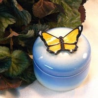 Ceramic Keepsake Box Butterfly Keepsake by GrapeVineCeramicsGft