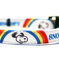 Small Dog Collar Vintage Snoopy Ribbon by TheWhiteSchnauzer