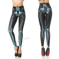 Cool Blue X-ray Skeleton Color Printing Leggings Pant