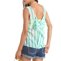 Bow-Back Striped Chiffon Tank: Charlotte Russe