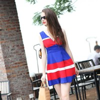 Colorful Style Spliced V-neck Elegant Dresses Blue
