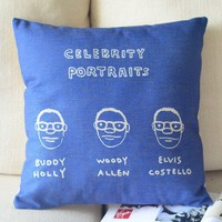 Comic Portrait Cotton and Linen Pillow