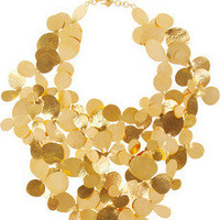 Herv Van der Straeten|Hammered gold-plated bib necklace|NET-A-PORTER.COM