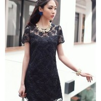 * Free Shipping * Black Women Lace Short Dress S/M/L A0926b