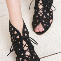Elegant Black Hollow Sandals from ABIGALE
