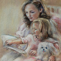"Mother' Day, Special Offer,  ""Bedtime Story""  reading mom Art print nursery art, baby pastel 8x10"