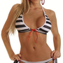 Black and White Striped 2 Piece Bikini # 16.36 : Swimwear and Beachwear |