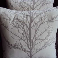 Throw pillow silver gray grey tree silhouete cushion by VeeDubz