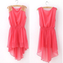 Elegant Women's Chiffon Casual Paillette Shoulder Slim Mini Vest Dress 7Colors