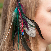 Tribal Feather Hair Extension - Polymer Clay Flowers Hair Pin - Hippie Hair Accessories - Boho Gypsy Chic Jewelry - Festival Wear