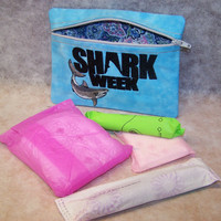 SHARK WEEK  Tampon & Maxi Pad Holder  Zippered Fabric Purse Pouch / Tampon Keeper